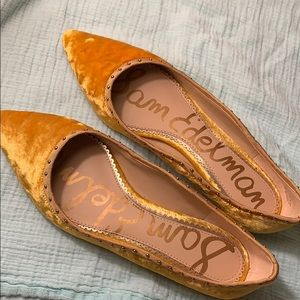 Mustard colored Rivera velvet flats